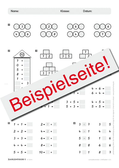 Zahlenfuchs 1 (Ausgabe Österreich) Lernzielkontrollen
